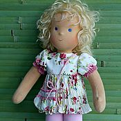 """Куклы и игрушки ручной работы. Ярмарка Мастеров - ручная работа вальдорфская кукла 36см в платье стиль """"бохо"""". Handmade."""