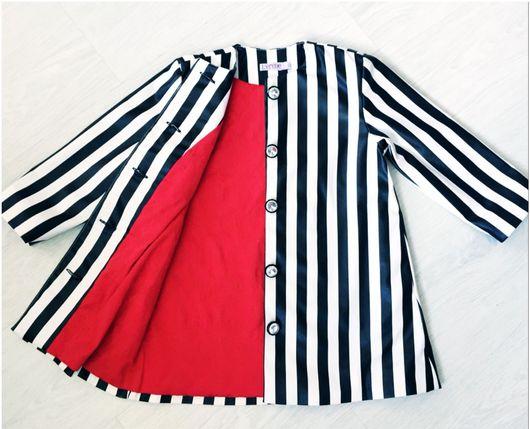 Одежда для девочек, ручной работы. Ярмарка Мастеров - ручная работа. Купить Пальто полосатое из экокожи. Handmade. Пальто, экокожа, полоса