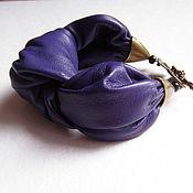 Украшения ручной работы. Ярмарка Мастеров - ручная работа Кожаный браслет женский на руку Фиолетовый Узел Эко. Handmade.