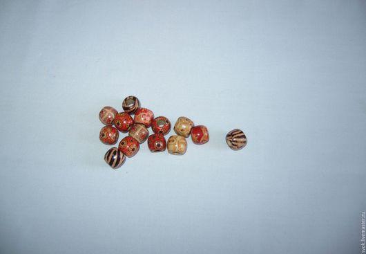 Для украшений ручной работы. Ярмарка Мастеров - ручная работа. Купить Бусины деревянные, 12 мм, разноцветные, орнамент. Handmade.