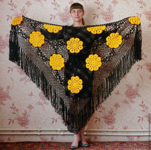 Шали, палантины ручной работы. Ярмарка Мастеров - ручная работа. Купить Шаль с цветами желтыми. Handmade. Шаль