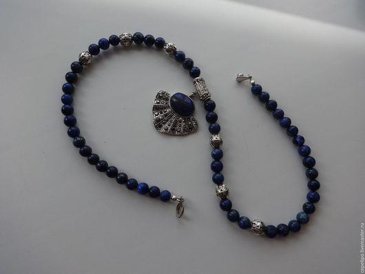 """Колье, бусы ручной работы. Ярмарка Мастеров - ручная работа. Купить Колье """"Синяя птица"""" (лазурит, марказит). Handmade. ожерелье"""