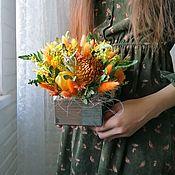 """Композиции ручной работы. Ярмарка Мастеров - ручная работа Сухоцветы в ящике """"Моя осень """". Handmade."""