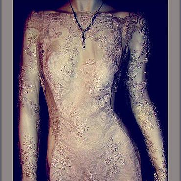 """Одежда ручной работы. Ярмарка Мастеров - ручная работа Платье кружевное с длинным рукавом.""""Бисер"""". Handmade."""