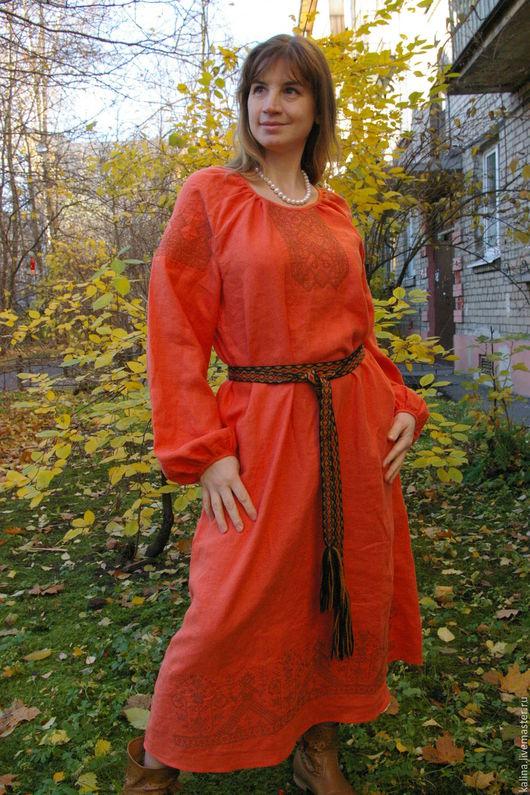 """Одежда ручной работы. Ярмарка Мастеров - ручная работа. Купить Платье """"Злата"""". Handmade. Оранжевый, платье с длинным рукавом"""