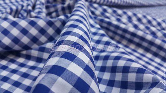 Шитье ручной работы. Ярмарка Мастеров - ручная работа. Купить Ткань сорочечная Синяя клетка. Handmade. Комбинированный, детская одежда
