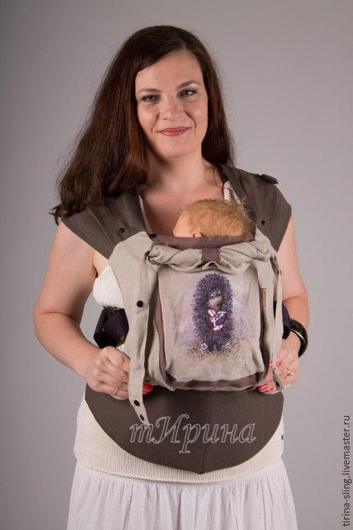 """Слинги ручной работы. Ярмарка Мастеров - ручная работа. Купить Зргономичный рюкзак с ручной росписью """"Ёжик в тумане"""". Handmade. Разноцветный"""