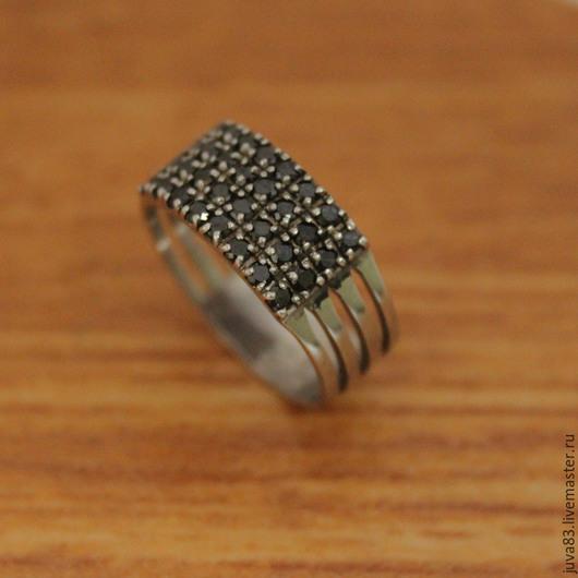 Кольца ручной работы. Ярмарка Мастеров - ручная работа. Купить Серебряное кольцо Геометрия, серебро 925. Handmade. Черный, серебро