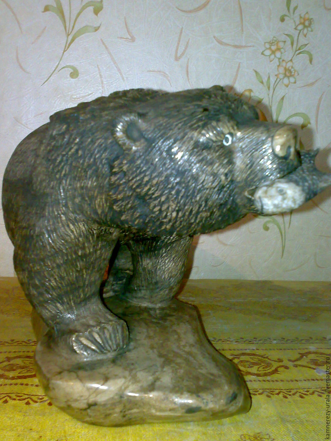 Sculpture ' Bear on a stand with a fish', Figurines, Horde,  Фото №1