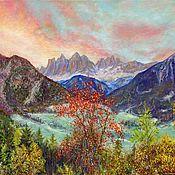Картины и панно ручной работы. Ярмарка Мастеров - ручная работа Пейзаж с синими горами. Handmade.