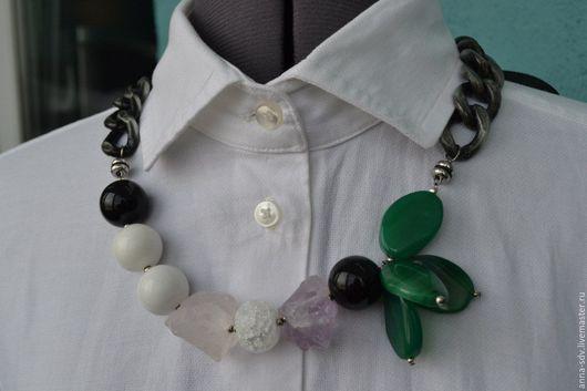 """Колье, бусы ручной работы. Ярмарка Мастеров - ручная работа. Купить Ожерелье """"Цветок&Лёд"""". Handmade. Ожерелье из камней, украшение на шею"""