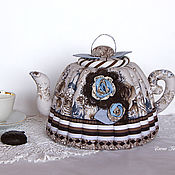 Посуда handmade. Livemaster - original item Hot water bottle for a teapot with roses. Gift, coffee, blue, chocolate. Handmade.