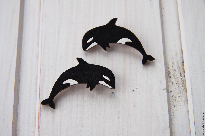Купить Брошка деревянная кит касатка космическая - чёрно-белый, касатка, кит, брошь из дерева