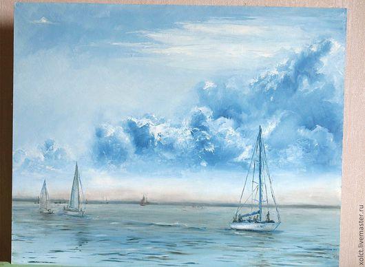 """Пейзаж ручной работы. Ярмарка Мастеров - ручная работа. Купить Картина маслом """"Яхты"""". Handmade. Голубой, море, лак"""