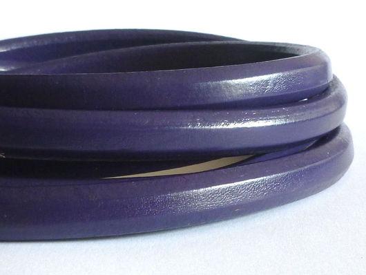Для украшений ручной работы. Ярмарка Мастеров - ручная работа. Купить Шнур Регализ 10х6мм фиолетовый. Handmade. Кожаный шнур