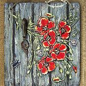 Для дома и интерьера handmade. Livemaster - original item Wall key holders: key holder panels with poppies poppys. Handmade.