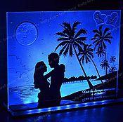 Свадебный салон ручной работы. Ярмарка Мастеров - ручная работа Свадьба на пляже Картина с подсветкой. Handmade.