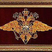 Подарки к праздникам handmade. Livemaster - original item Emblem of the Ministry of internal Affairs of Russia made of amber. Handmade.