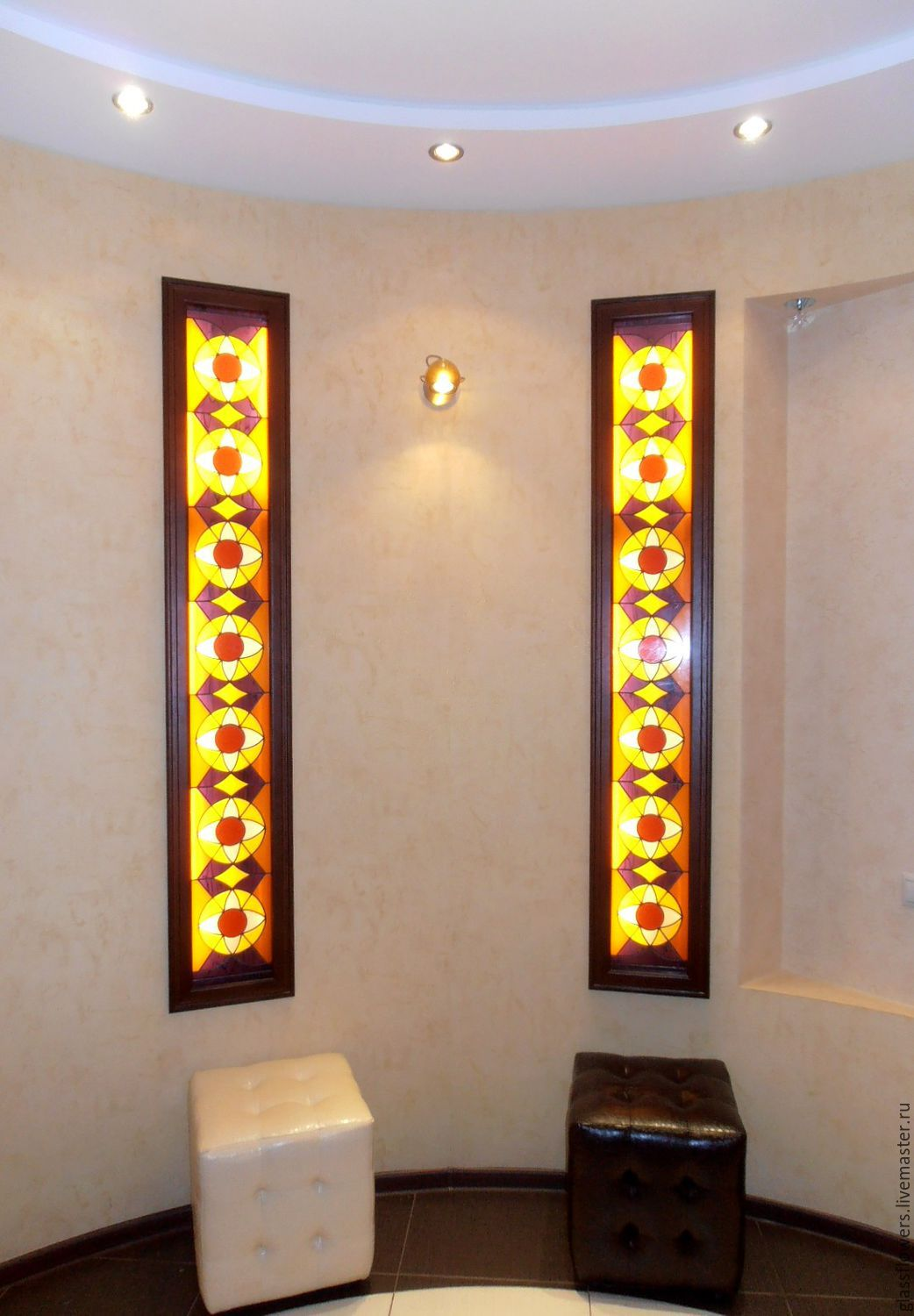 Paired geometric stained glass illuminated. Film stained-glass Windows, Accessories, St. Petersburg, Фото №1