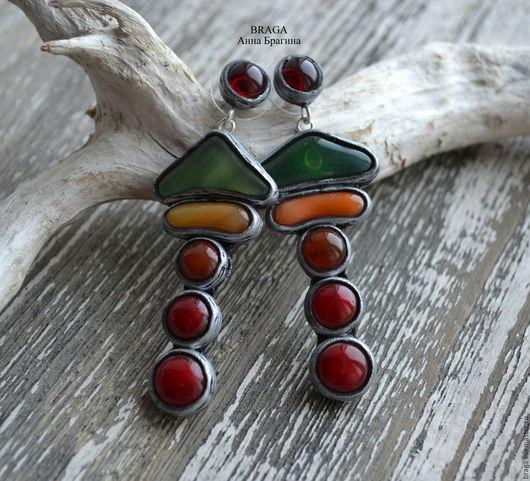 Серьги ручной работы. Ярмарка Мастеров - ручная работа. Купить Серьги со стеклом оранжевого, зеленого, терракотового и красного цвета. Handmade.