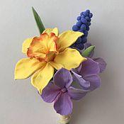 Украшения handmade. Livemaster - original item Brooch with a Lily, hydrangea and Muscari. polymer clay. Handmade.