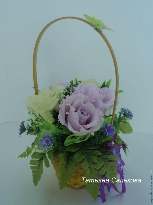 Букеты ручной работы. Ярмарка Мастеров - ручная работа. Купить Букет из конфет Корзина роз подарок на день рождения женщине девушке. Handmade.