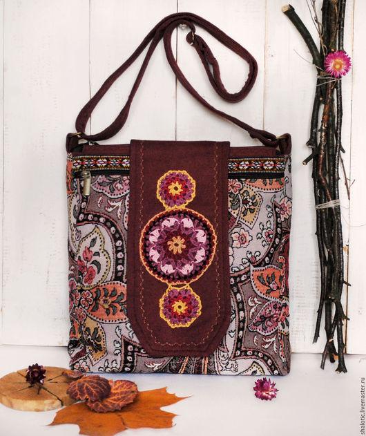 Сумка женская, гобеленовая сумка, сумки и рюкзаки ручной работы, сумка  с вышивкой, бордовая сумка, автор Юлия Льняная сказка