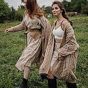 Одежда handmade. Livemaster - original item cardigans: Voluminous cardigan with a large beige oversize pattern. Handmade.