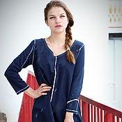 Одежда ручной работы. Ярмарка Мастеров - ручная работа Темо-синиее платье 3 с царапками. Handmade.