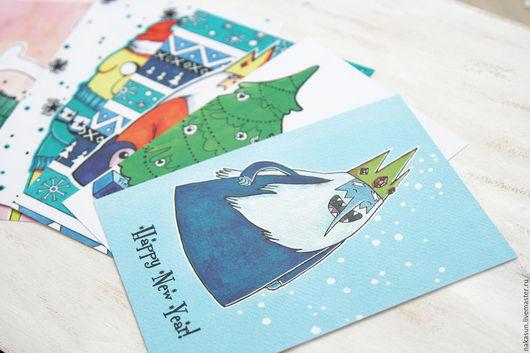 Открытки к Новому году ручной работы. Ярмарка Мастеров - ручная работа. Купить 5 открыток Время приключений Новый год. Handmade.