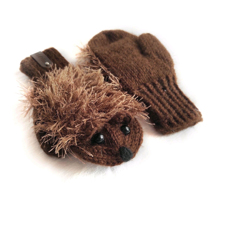 Варежки ёжики детские коричневые, Варежки, Зеленоград,  Фото №1