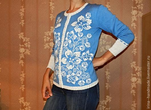 """Кофты и свитера ручной работы. Ярмарка Мастеров - ручная работа. Купить Вязаный джемпер """"Цветы"""". Handmade. Голубой"""
