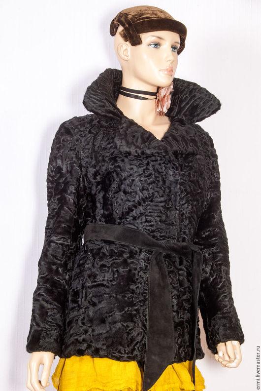 Верхняя одежда ручной работы. Ярмарка Мастеров - ручная работа. Купить Полушубок Шелковая свакара, автоледи, черная смоль ог. 102 см.. Handmade.