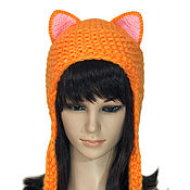 Аксессуары handmade. Livemaster - original item The cap with ears Fox SLI, womens knitted red. Handmade.