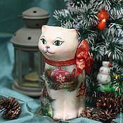 Подарки к праздникам handmade. Livemaster - original item Christmas cat (ceramic). Handmade.