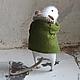 Игрушки животные, ручной работы. Ярмарка Мастеров - ручная работа. Купить Мышонок в зеленом пальто. Handmade. Белый, пушистый