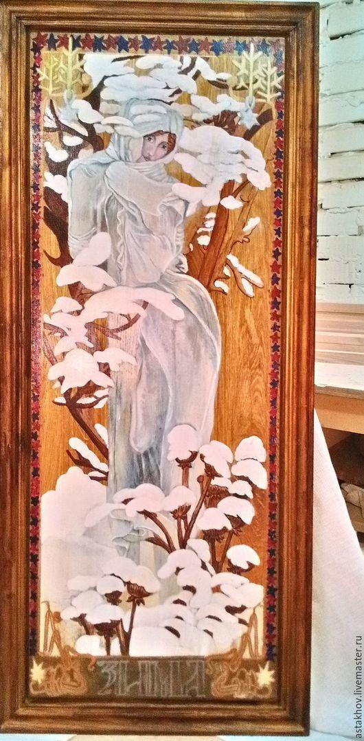 картина роспись на дубе ручной работы, багет из ясеня. Создана и расписана нами.