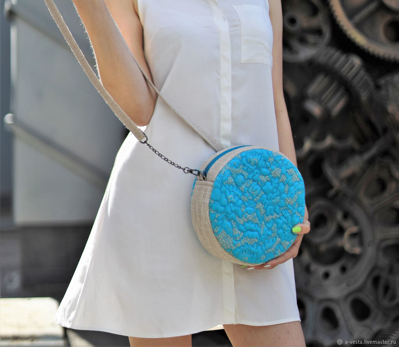 Round turquoise bag, cross body, summer turquoise bag (52), Classic Bag, Saratov,  Фото №1