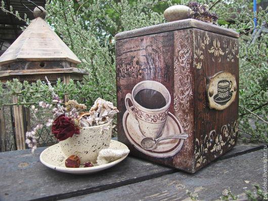 """Корзины, коробы ручной работы. Ярмарка Мастеров - ручная работа. Купить Короб для кофе """"Кофе в кафе Орлеан"""". Handmade. Коричневый"""
