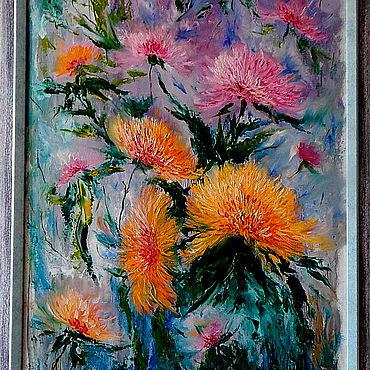 Картины и панно ручной работы. Ярмарка Мастеров - ручная работа Картины: Хризантемы. Handmade.