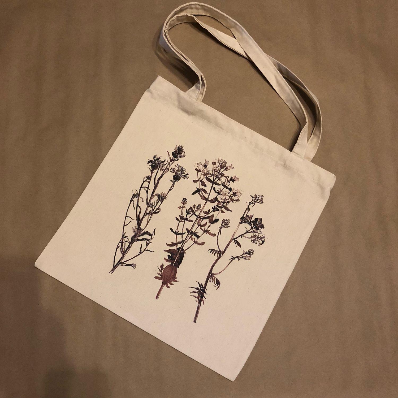"""Холщовая сумка """"Полынь и летние травы"""", двухсторонняя"""