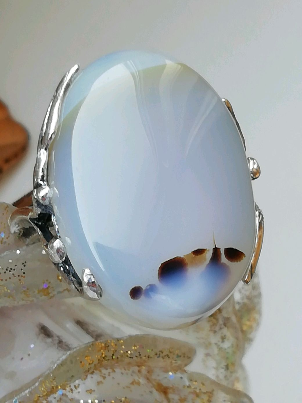 Ring with natural dendrite agate ' OKINAWA', Ring, Moscow,  Фото №1