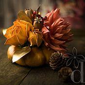 """Для дома и интерьера ручной работы. Ярмарка Мастеров - ручная работа Цветочная композиция в тыкве """"Золотая осень"""". Handmade."""