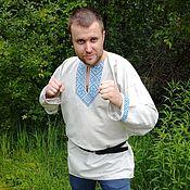 Русский стиль handmade. Livemaster - original item Men`s grey linen shirt