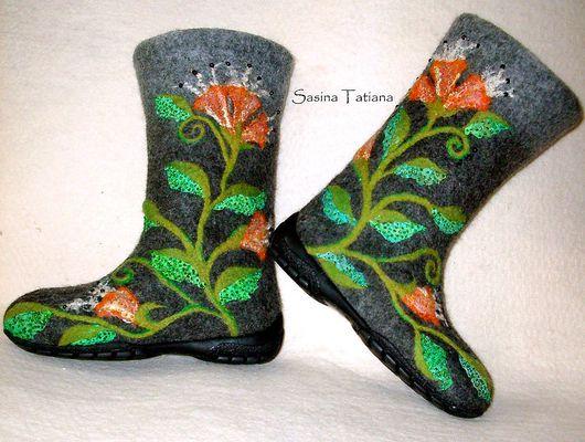 """Обувь ручной работы. Ярмарка Мастеров - ручная работа. Купить Валенки """"Осеннее настроение"""". Handmade. Валенки для улицы, 100% шерсть"""