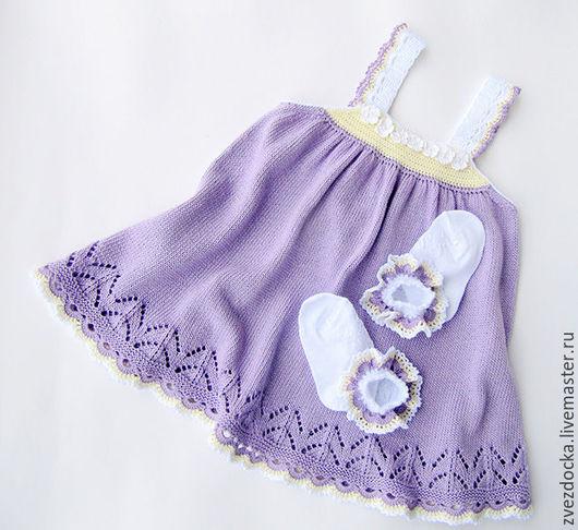 """Одежда для девочек, ручной работы. Ярмарка Мастеров - ручная работа. Купить комплект """"Сирень"""" платье-сарафан и носочки-цветочки. Handmade."""