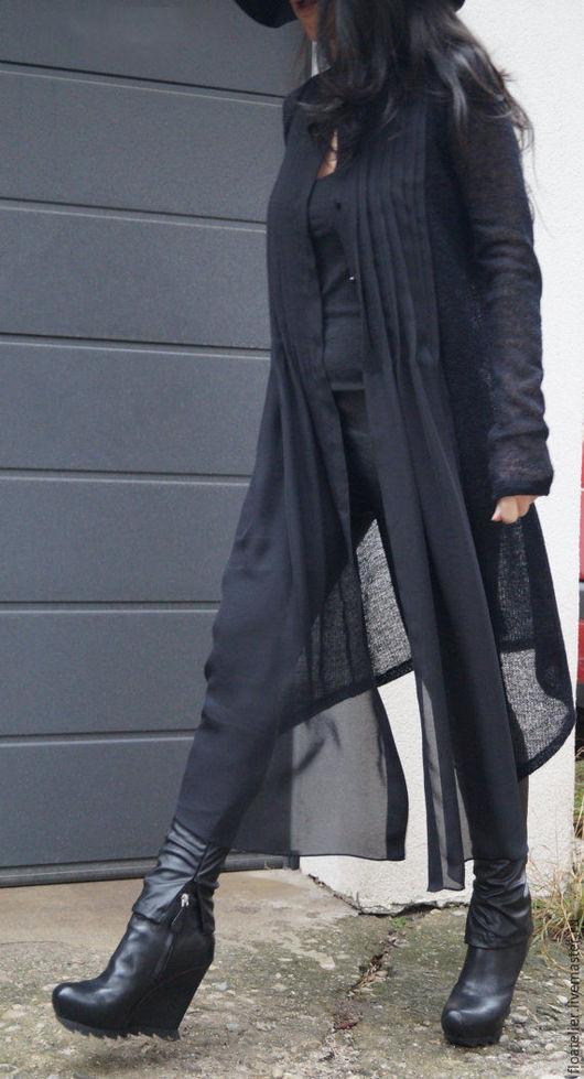 Блузки ручной работы. Ярмарка Мастеров - ручная работа. Купить Черная длинная рубашка/Рубашка-кардиган/Модный кардиганF1538. Handmade. Черный