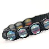 Украшения handmade. Livemaster - original item Leather Shamballa bracelet with grey opal. Handmade.