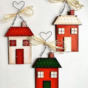 Сувениры и подарки ручной работы. Ярмарка Мастеров - ручная работа Украшения для елки : уютные домики. Handmade.