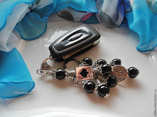 Фото Брелок для ключей, на сумку На удачу! Черный агат ollika Ольга Дмитриева Ярмарка Мастеров Авторская бижутерия НА ЗАКАЗ